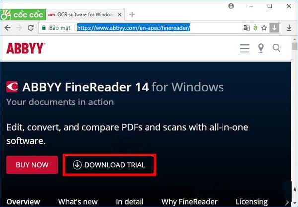 Bước 1 tải phần mềm ABBYY FineReader
